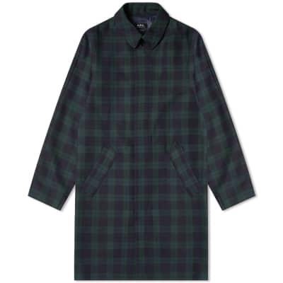 A.P.C. Single Breasted Check Mac