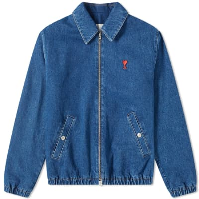 AMI Zip Through Denim Harrington Jacket