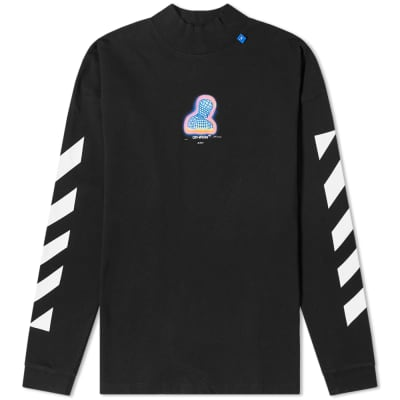 Off-White Long Sleeve Chevron Thermo Print Mock Neck Tee