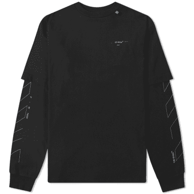 Off-White Long Sleeve Diagonal Layered 3M Unfinished Tee