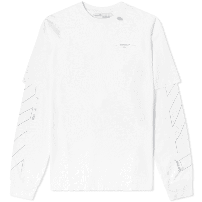 79a5122d Off-White Long Sleeve Diagonal Layered 3M Unfinished Tee