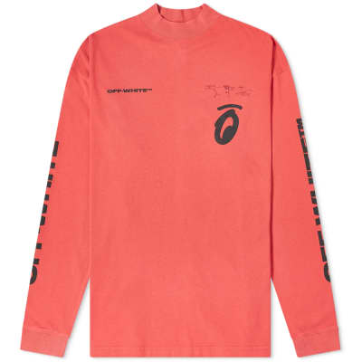 Off-White Long Sleeve Split Half Tone Arrows Mock Neck Tee
