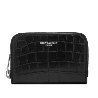 Saint Laurent Crocodile Embossed Leather Zip Coin Purse