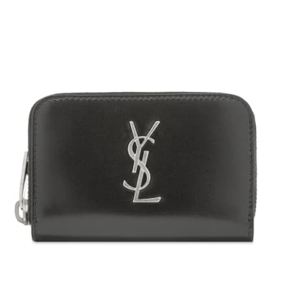 Saint Laurent East West YSL Metal Logo Zip Wallet