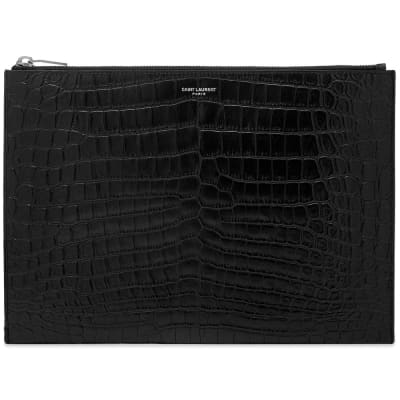 Saint Laurent Embossed Croc Tablet Holder