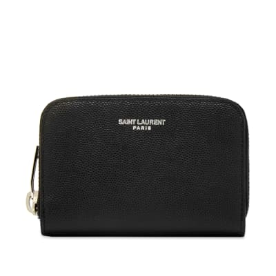 Saint Laurent Grain Leather Zip Coin Card Wallet
