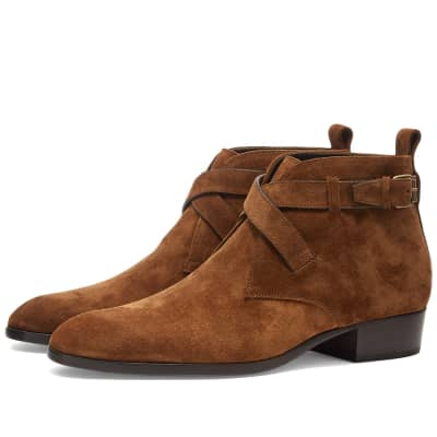 Saint Laurent Wyatt 30 Otterproof Suede Buckle Boot