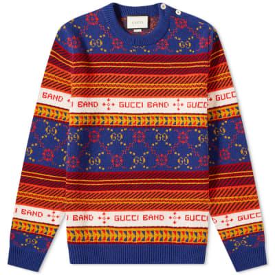 Gucci Logo Fair Isle Crew Sweat