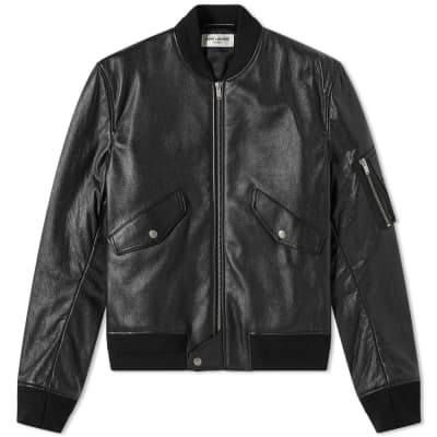 Saint Laurent Leather MA-1 Bomber Jacket