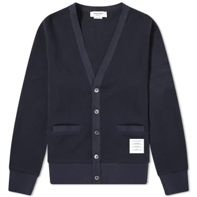 Thom Browne 4 Bar V-Neck Pique Cardigan