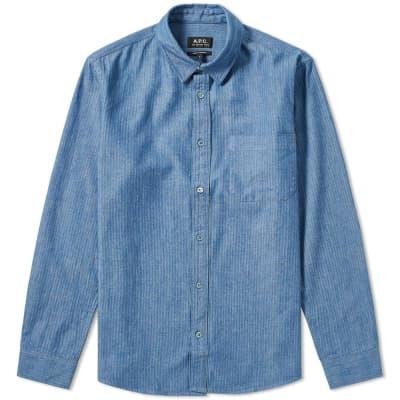 A.P.C. Georges Herringbone Chambray Shirt
