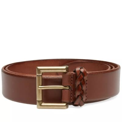 Anderson's Burnished Leather Woven Trim Belt