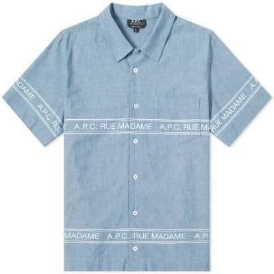 A.P.C. Short Sleeve Logo Chambray Shirt