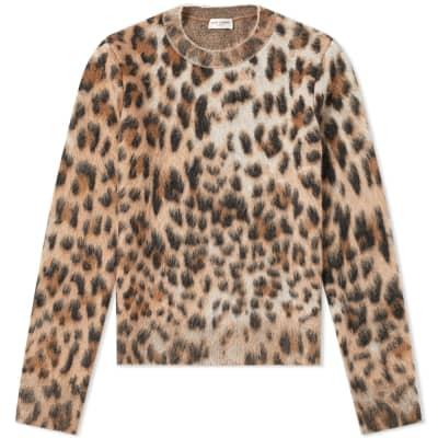 Saint Laurent Leopard Print Mohair Crew Knit