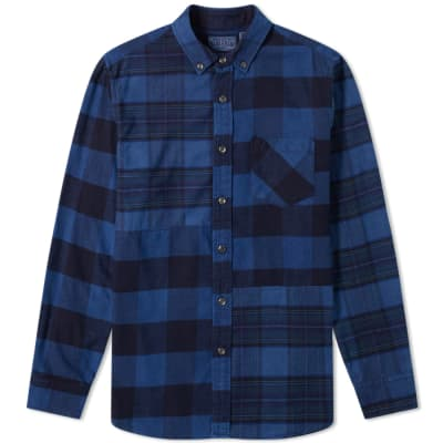 Blue Blue Japan Flannel Checked Hand Dyed Shirt