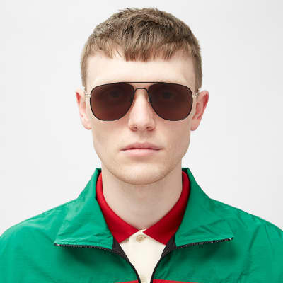 Gucci Web Block Aviator Sunglasses