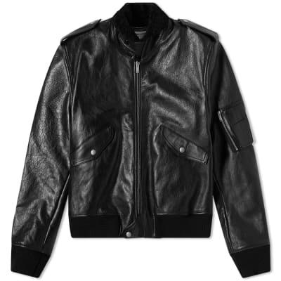 Saint Laurent Leather Shearling Bomber Jacket
