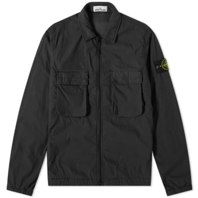 b4fbc23a1436 Stone Island Brushed Cotton Garment Dyed Zip Overshirt