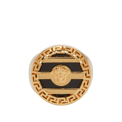 Versace Medusa Head Stripe Signet Ring