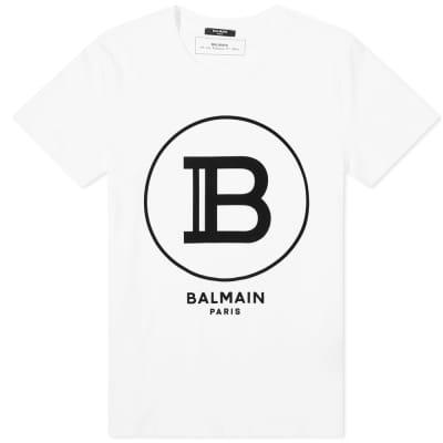 Balmain Flocked B Circle Logo Tee