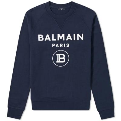 Balmain Flocked Paris Logo Crew Sweat