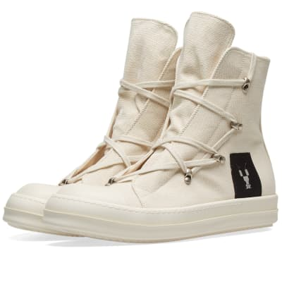 Rick Owens DRKSHDW Canvas Criss Cross Laced High Top Sneaker