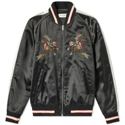 Saint Laurent Floral Embroidered Teddy Jacket
