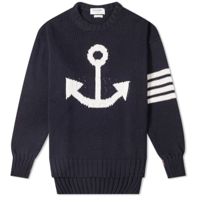 Thom Browne Anchor Intarsia Crew Knit