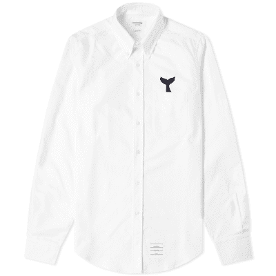 Thom Browne Whale Embroidered Oxford Shirt