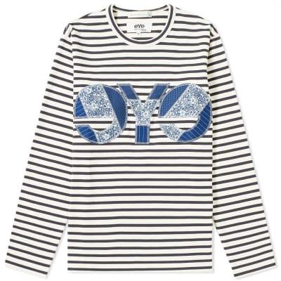 Junya Watanabe MAN eYe x Merz B. Schwanen Long Sleeve Stripe Logo Tee