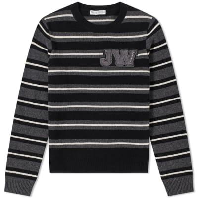 JW Anderson Logo Patch Stripe Crew Knit