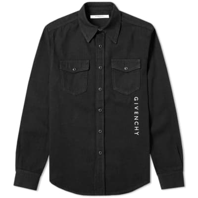 Givenchy Vertical Embroidered Logo Denim Shirt