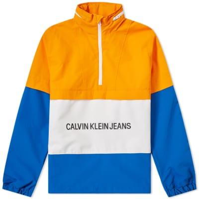 Calvin Klein Institutional Logo Nylon Popover Packaway Hood Sweat