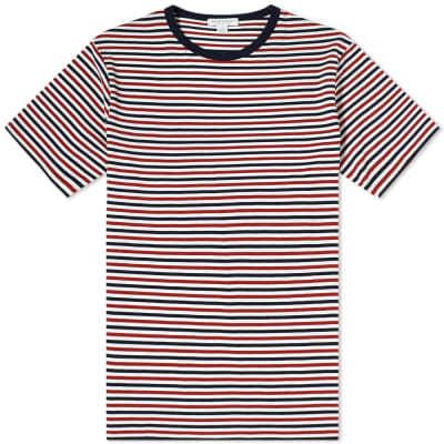 Sunspel English Stripe Contrast Rib Tee