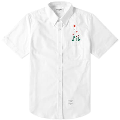 Thom Browne Short Sleeve Daisy Embroidered Button Down Shirt