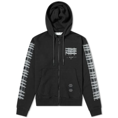 Off-White Diagonal Sleeve Industrial Arrows Zip Hoody