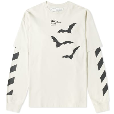 Off-White Long Sleeve Diagonal Bats Layered Tee