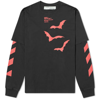 0a4e93cf Off-White Long Sleeve Diagonal Bats Layered Tee