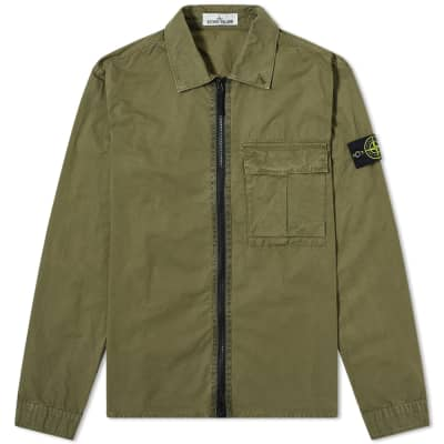 Stone Island Garment Dyed Zip Overshirt
