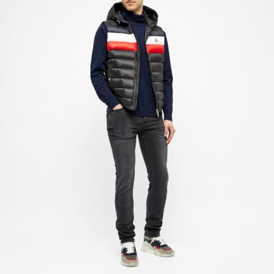 Moncler Timothy Tricolour Stripe Hooded Gilet