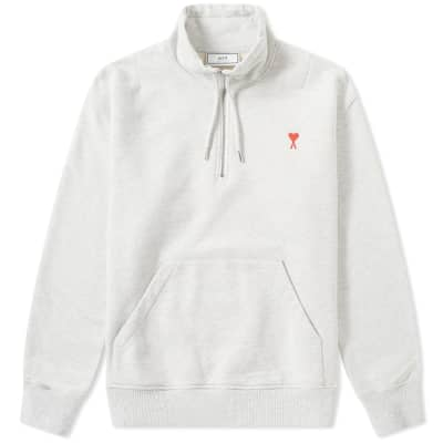 AMI Heart Logo Half Zip Sweat