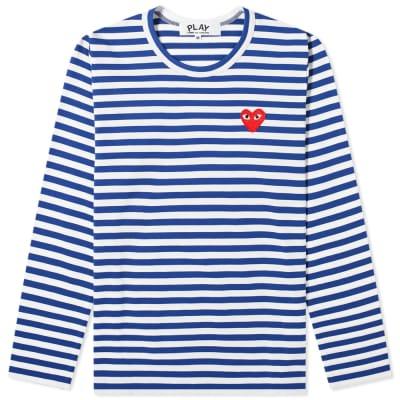 Comme des Garcons Play Women's Long Sleeve Heart Logo Stripe Tee