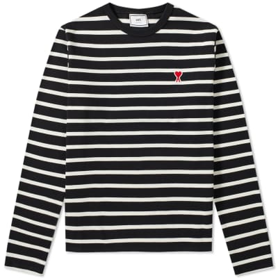 AMI Long Sleeve Heart Patch Stripe Tee