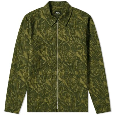A.P.C. Jungle Print Zip Shirt Jacket