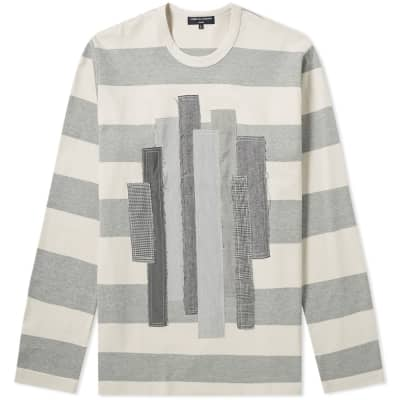 Comme des Garcons Homme Long Sleeve Fabric Mix Stripe Tee