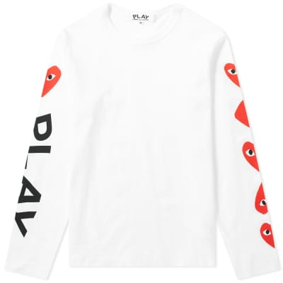 Comme des Garcons Play Women's Long Sleeve Multi Heart Logo Tee