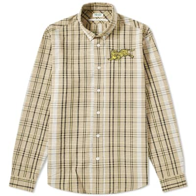 Kenzo Jumping Tiger Check Button Down Shirt