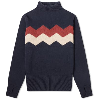 Oliver Spencer Talbot Zig Zag Roll Neck Knit