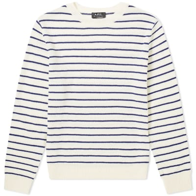A.P.C. Striped Knit Crew Sweat