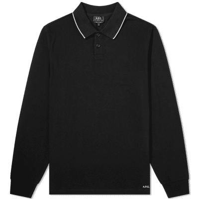 A.P.C. Long Sleeve Tipped Polo